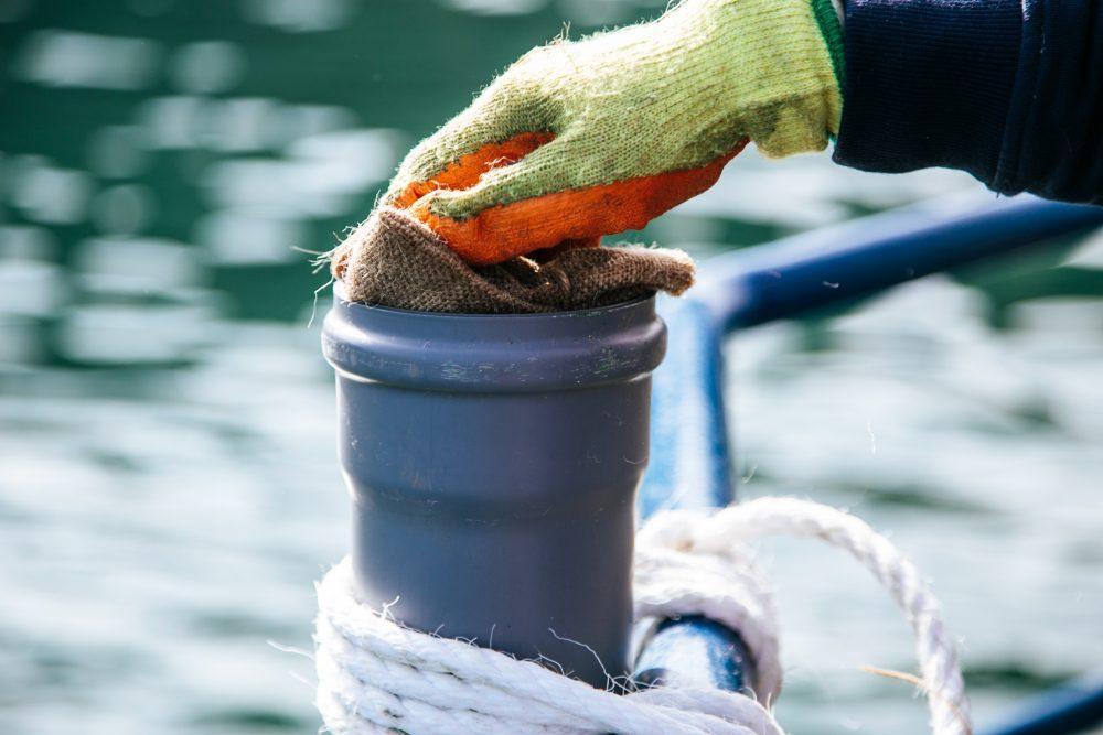 Seagrass restoration bag down tube. Photo credit Ocean Conservation Trust